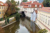 Prague. The Old Water Mill On The River Devil.