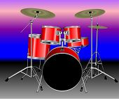 foto of drum-kit  - Illustration of a red 8 piece drum kit with a Blue and Purple background - JPG