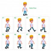 Animation of boy walking. Eight walking frames + 1 static pose. Vector cartoon isolated character/frames.