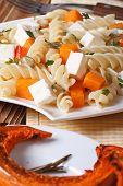 Fusilli Pasta With Feta And Baked Pumpkin Close-up