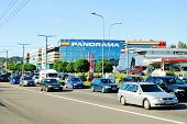 Cars In Zverynas District In Vilnius City And Panorama Shop Center