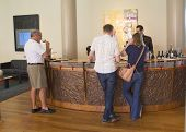 Wine enthusiasts tasting wine at the  Artesa Winery in Napa Valley