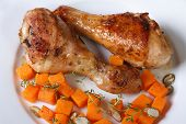 Roasted Chicken Drumsticks With A Pumpkin, View From Above