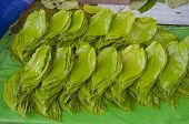 Stack Of Green Fresh Betel Leaf In Asia Market, India