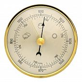 image of barometer  - Wallmounted barometer aneroid on a white background - JPG