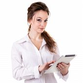 Girl With A Digital Tablet In Hands Smiling Isolated On White