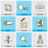Flat Design Icons Set Of Vector Line Prototype Promote Idea