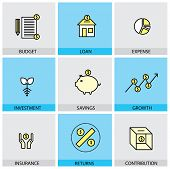 Flat Design Set Of Vector Line Icons Of Budget Loan Expense Investment