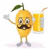Mango Fruit Mustache