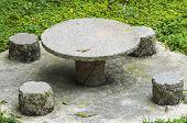 Stone Table Set In Garden