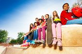 View of children diversity with skateboards