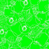 Seamless Pattern With Contour Vegetables