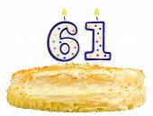 Birthday Cake Candles Number Sixty One Isolated