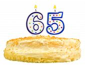 Birthday Cake Candles Number Sixty Five Isolated
