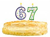 Birthday Cake Candles Number Sixty Seven Isolated
