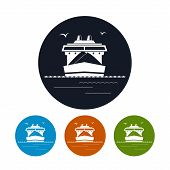 Cargo ship icon, vector illustration