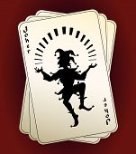 Постер, плакат: Joker silhouette on playing cards