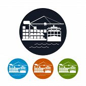 Cargo container ship icon,logistics icon, vector illustration