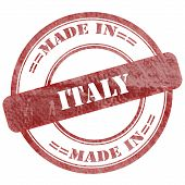 Made In Italy, Red Grunge Seal Stamp