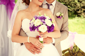 foto of marriage ceremony  - Happy bride and groom on their wedding - JPG