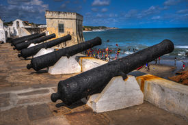 image of cannon  - Cannons overlooking from Cape Coast Castle - JPG