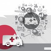 picture of ambulance car  - Hand drawn ambulance car icons with icons background - JPG