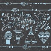 image of wigwams  - Sweet happy birthday card with indian symbols in vector - JPG