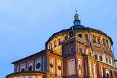 stock photo of leonardo da vinci  - Beautiful church Santa Maria delle Grazie is the place where can be found famous fresco of Leonardo da Vinci  - JPG