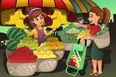 stock photo of farmer  - A vector illustration of fruit seller at the farmers market with a customer - JPG