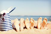 picture of sunbather  - hats and summer concept  - JPG