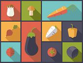 Healthy vegetables icons vector illustration. Flat design illustration with a variety of healthy veg poster