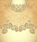 foto of vintage jewelry  - Template vintage background in gold colors for invitation or congratulation or package perfumer - JPG