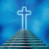 picture of stairway to heaven  - Glowing holy cross and staircase leading to heaven or hell - JPG