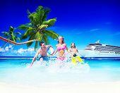 stock photo of beach-ball  - Friends Summer Beach Happiness Beach Ball Playing Concept - JPG