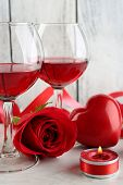 pic of glass heart  - Composition with red wine in glass - JPG