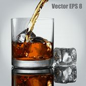 image of scotch  - Pouring Glass of scotch whiskey and ice - JPG
