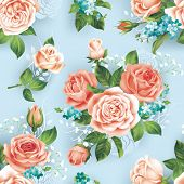 foto of blue rose  - Seamless blue pattern with roses - JPG