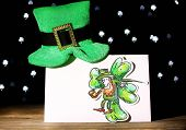 picture of leprechaun hat  - Greeting card for Saint Patrick - JPG