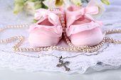 stock photo of christening  - Baby shoe - JPG