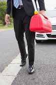 pic of petrol  - Man bringing petrol canister after broken down on the road - JPG