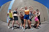 Woman Posing With Fitness Friends