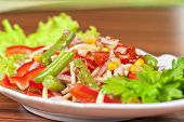 stock photo of green bean  - Salad from ham - JPG