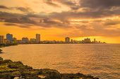 foto of malecon  - Romantic sunset in Havana with a view of the city skyline - JPG