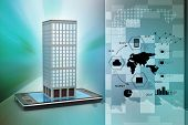 foto of smart grid  - smart phone with real estate concept in color background - JPG