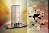 image of smart grid  - smart phone with real estate concept in color background - JPG