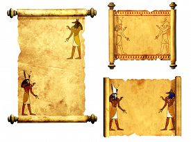 stock photo of scroll  - Collection of scrolls with Egyptian gods images  - JPG
