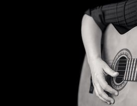 picture of classic art  - Acoustic guitar detail on black and white  - JPG