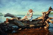 picture of driftwood  - Beautiful blonde girl in a hat and glasses sitting on a driftwood on the river bank - JPG