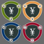stock photo of yen  - Set of four flat icons and the symbol of yen - JPG
