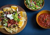 pic of nachos  - Homemade Nachos with tortilla chips cheese and guacamole - JPG